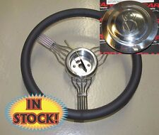 "15"" Charcoal Banjo Leather Steering Wheel with GM Adapter and V8 Horn Button"