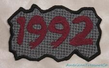 Embroidered Retro Vintage 90s Burgundy & Gray Grunge 1992 Year Patch Iron On USA