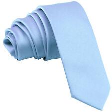 "New Polyester Men's 2.5"" skinny Neck Tie only solid formal wedding light blue"