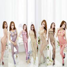 Womens Sexy Fishnet Bodystocking Babydoll Lingerie Chemise Sleeveless Nightwear