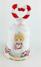 Vintage Precious Moments 1997 Christmas Bell Candy Cane Heart W/ Gold Trim