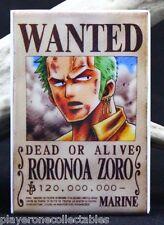 "Roronoa Zoro Wanted Poster - 2"" X 3"" Fridge / Locker Magnet. One Piece Anime"