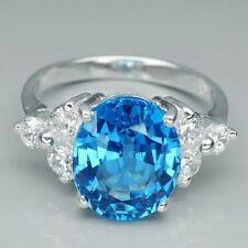 FASCINATED! BLUE TOPAZ OVAL 4.75CT. & WHITE SAPPHIRE 925 SILVER RING SIZE 6.75