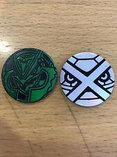 2 Deoxys Pokemon Coin Token POG , Pokemon TCG, Rare Collectable Silver & Green