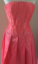 Cache Coral Pink Taffeta Stretch Corset Dress Prom Cocktail Evening XS