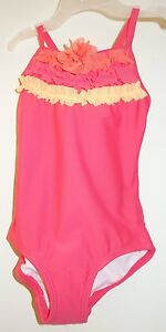 New Hanna Anderson Bright Coral Tulle Ruffle Bathing Suit Girl's Size 80 -10-24M