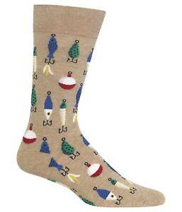 Hot Sox Mens Fishing Lures Dress Socks, Beige, 10-13