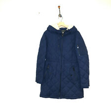 Nwt Marc New York navy blue quilted coat lightweight shearling hood cinched S