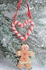 Gisela Graham Navidad Resina Hombre De Jengibre Candycane Decoración Corazón