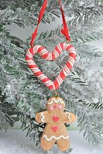 Gisela Graham Christmas - Gingerbread Man Candy Cane Heart Decoration