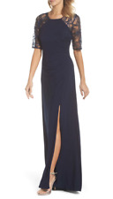 Adrianna Papell Women's Jersey Gown With Lace Sleeves Navy Blue Size 10