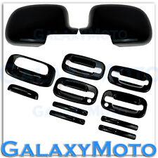 99-06 GMC Sierra+HD Gloss Black Mirror+4 Door Handle+PSG KeyHole+Tailgate Cover