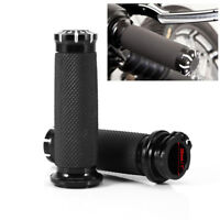 "Black CNC 1"" Handle Bar Rubber Hand Grips For Harley-Davidson Cruiser Sportster"