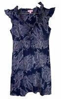LILLY PULITZER Womens' Navy Blue Patterned Cap Sleeve Dress Size Medium