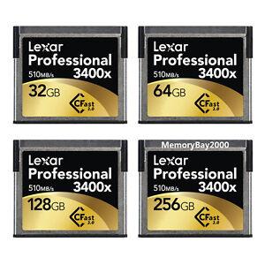 Lexar 3400x 32GB 64GB 128GB 256GB CFast 2.0 Memory Card URSA Amira C300 MARKII