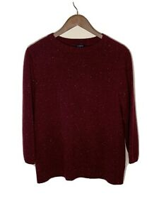 TALBOT'S Women's 3/4 Sleeve Crew Neck Soft Cashmere Sweater sz Large Burgundy