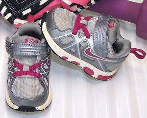 NIKE T-Run 3 Alt Gray/Fuchsia/White Toddler Girl Size 4.5 429900-003.