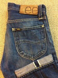Mens LEE 101 Selvage W30 L33 Blue Selvedge Distressed Denim Jeans