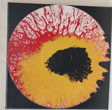 "12"" Lp Mounted Art Acrylic Paint Pour Painting Red Gold Black Eye Splatter"