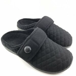 490 Vionic Womens Indulge Carlin Flannel Slipper With Orthotic Arch, Black US 9M
