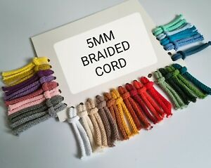 5MM Braided Cord, Drawstring Cotton Cord , Crochet Cord, Laces, Craft Cord