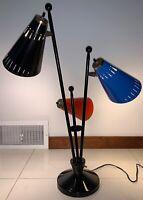 Vintage 50s 60s Triple Atomic Era Metal Cone Lamp Mid Century Modern Thurston