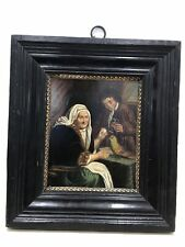 """Antique Old Master Dutch painting on tin """"Old Lady with Parrot"""" Ebonized frame"""