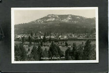 Portola, Plumas County, CA, Panorama Of Town, RR Box & Flat Cars, 1930's, RPPC