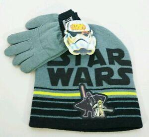 Disney Star Wars Darth Vader Yoda Gray & Black Beanie Hat Gloves Kids Gift Set