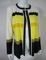 Exclusively Misook Long Sleeve Open Front Cardigan Sweater Large L Black Yellow