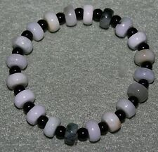 Multi Colored Jade and Black Onyx Bead Stretch Bracelet with 120cts of Gems