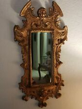 """Italian Mirror 11"""" x 24"""" Gold Gilt Traces of Red On Carved Wood (Cherub & Lion)"""