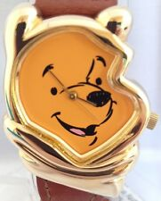 NEW DISNEY WINNIE THE POOH FULL FACE/HEAD GOLD TONE BRAIDED LEATHER BAND WATCH