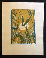 Peter Angermann, Der Geheimdienst, Farblithographie, 1990, handsigniert