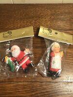 """Vintage Hong Kong Plastic Santa/Mrs. Claus Ornaments 3"""" **New**"""