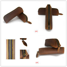 Handmade Cow Leather Pen Case Bag Zipper Vintage Pencil Pouch Brush Tool