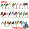 30Pcs Life-like Trout Spoon Metal Fishing Lures Spinner Baits Bass Tackle + Box