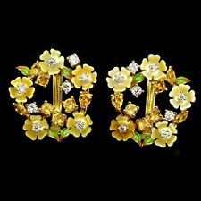 PRETTY CITRINE CARVED MOTHER OF PEARL ENAMEL FLOWER 925 STERLING SILVER EARRINGS