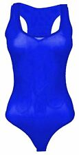 Womens Plain Sleeveless Stretchy Muscle Racer Back Mesh Leotard Bodysuit Top Royal 20-22