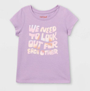 NEW! Girl Graphic T-shirt Purple Sz 5T We need to Look Out for Each Other