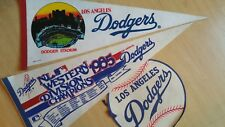 Vintage 60's-80's Sports Pennants Flags , Buttons, Pins, Baseball Bat, Hat