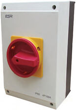 ESR Large Electrical Switch Rotary Isolator 4 Pole 100A IP65 Enclosure Box