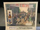"""Vintage Pabst Blue Ribbon Beer PBR Bicycle Race Sign 25"""" x 22"""""""