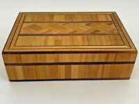 Vintage 1976 Handcrafted Poland Wood Bamboo Inlay Trinket Box Made in Poland