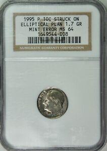 1995-P Roosevelt Dime 10c Mint Error - Struck on Elliptical Planchet - NGC MS64
