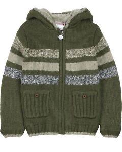 BOBOLI Boys Knit Cardigan with Sherpa Fleece, Sizes 4-16