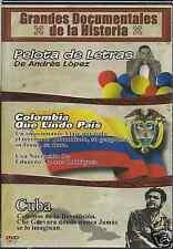 dvd COLOMBIA QUE LINDO PAIS Cuba caminos de la revolucion 3 grandes documentales