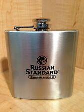 RUSSIAN STANDARD VODKA BRANDY WHISKEY FLASK 6OZ BRUSHED STAINLESS BRAND NEW RARE