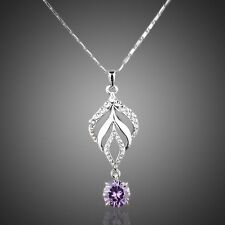 BEAUTIFUL PLATINUM PURPLE and CLEAR AUSTRIAN CRYSTAL NECKLACE AND CHAIN #N70