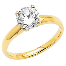 14K Solid Yellow Gold with 1 Carat CZ Engagement Ring